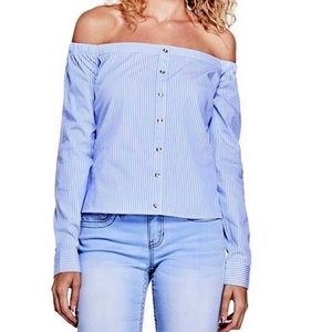 Guess Blue White Stripe Off The Shoulder Top M